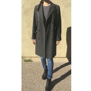 Vintage Nordstrom Gray Double Breasted Overcoat XS
